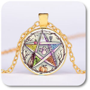 Pentagram Cabochon Necklace Wicca Witch Pendant + Chain Arms Colourful/Gold