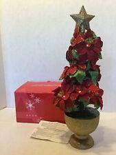 "Avon Poinsettia Christmas Tree with Lights Holiday Decor 14"" w/ Box"