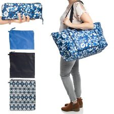 4pc Packable Travel Overnight Gym Shopping Weekender Bag Tote Cosmetic Makeup