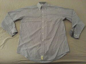 Mens Brooks Brothers Plaid Dress Shirt M Medium Grey Gray Button Cotton