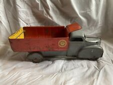 Vintage Marx Toy Pressed Steel Lumar Contractors Dump Truck Metal Wheels