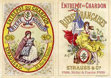 """""""ENTREPÔT DU CHARDON (STRAUSS & Cie Paris) """" Etiquette-chromo originale fin 1800"""