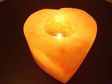 HIMALAYAN CRYSTAL ROCK SALT TEALIGHT CANDLE HOLDER IN HART SHAPE (SET X 6)