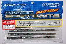 """owner bass worm 6.5"""" wacky carolina or shaky nail head rig smokey hologram"""