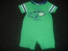 "Twin Baby Boys One-Piece Outfit Green Car Size 6 - 9 Months ""I Do My Own Stunts"""