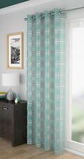 LEON Silver Metallic Stripe Voile Thin Net Curtain Eyelet Ring Top Single Panel