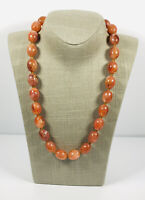 Vintage Necklace Orange Brown Marbled Plastic Beads Collar Length Pretty Kitsch