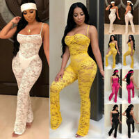 US Women Ladies Clubwear Lace Playsuit Bodycon Party Jumpsuit Romper Trousers