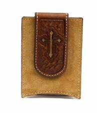 Nocona Western Mens Money Clip Cross Cutout Weave Embossed Brown N5412544