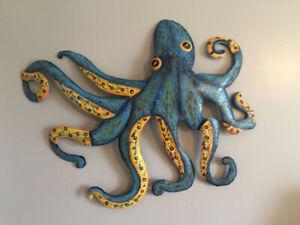 Octopus Wall Sculpture Reclaimed Metal
