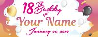 """Happy 18th Birthday Banner Personalized with Text Party Decorations 18"""" x 4'"""