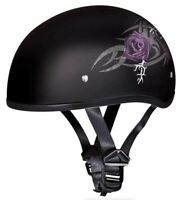 Daytona Skull Cap Purple Rose Half Helmet Womens Quick Release DOT 2XS-2XL