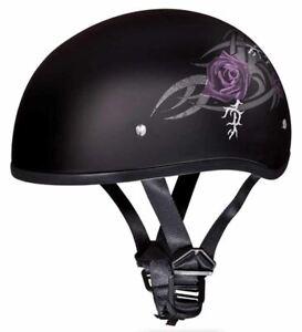 Daytona Skull Cap Purple Rose Half Helmet Womens Quick Release DOT 2XS-2XL