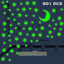 201Pcs Glow In The Dark Luminous Stars And Glow Moon Wall Stickers Decal