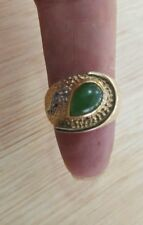 10k yellow ring ring with diamond and jade