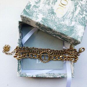 NIB!! Dior Logo 30 Montaigne Antique Gold Multi Chain Bracelet Revolution Jadior