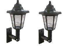 2 x SOLAR POWERED LED OUTDOOR GARDEN FENCE WALL LANTERN LIGHT LAMP NEW