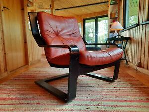 Armchair Leather Vintage 60er Easy Chair Danish Cantilever Westnofa Era 70er 2