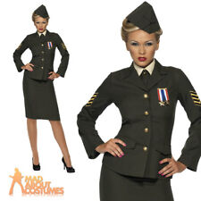 Wartime Officer Costume - Army Dress Fancy 1940s Uniform Outfit Ladies Ww2