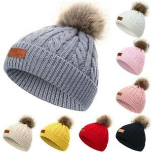 Baby Toddler Kids Warm Knitted Fur Pom Bobble Hat Boy Girls Winter Beanie Caps