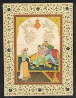 Indian Miniature Painting Mughal Emperor And Empress Enjoying Love With Dance