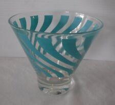 Vintage~Mad Men~MCM Aqua Swirl Cocktail Glass~Heavy~2+Cups!! Get Drinking!