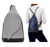 Handbag Ladies Backpack Italian Leather Grey / Chocolate Vera Pelle Shoulder Bag