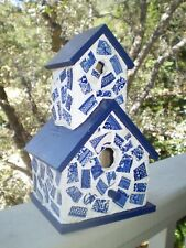Blue Willow Mosaic Birdhouse