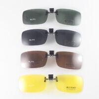 Polarized Sunglasses Clip on Sun Glasses Deep Green Brown Yellow Flip Up Down771