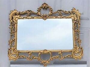 Rococo Style Gold Painted Cast Metal Mirror