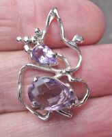 Super Art nouveau Style Sterling Silver and Amethyst Pendant