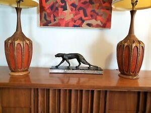 "Pair (2) Mid Century Modern Orange & Gold Ceramic & Wood Table Lamps *38"""