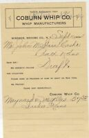U. S. Coburn Whip Co. 1904 Broome Co. N.Y. Whip Manufacturers Invoice Ref 39368