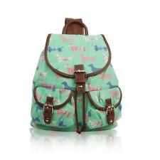 Floral Butterfly Bird Dog Cat Canvas Pocket Backpack Rucksack School College Bag Corgi Green