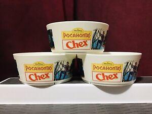 3 Vintage Disney Pocahontas Chex Mix Collectors Edition Food Plastic Cereal Bowl