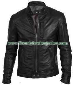 Men's Biker Hunt Black 100% Real Leather Jacket