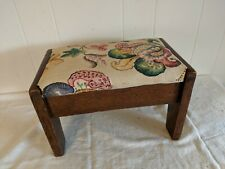 """Antique Arts & Crafts Mission Ottoman Oak Foot Stool with Fabric 13"""" x 8"""" x 8"""