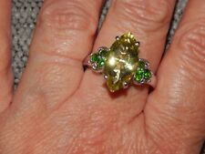 NATURAL GREEN GOLD QUARTZ & RUSSIAN DIOPSIDE RING-SIZE R-5.750 CARATS