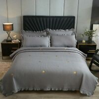 Washed Cotton Soft Quilted Ruffle Star Embroidery Bedspread Coverlet Bed Cover