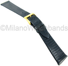 19mm T&C Genuine Lizard Navy Blue Made in Italy Flat Unstitched Watch Band 616