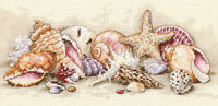 """Gold Petite Seashell Treasures Counted Cross Stitch Kit-8""""X4"""" 18 Count"""