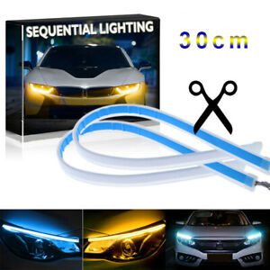 2X 30cm Flexible Blue DRL LED Strip Light Daytime Running Sequential Turn Signal