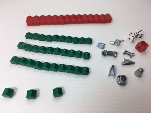 MONOPOLY Hasbro Game Parts 3 Dice,14 Hotels,32 Homes,8 Game Pieces