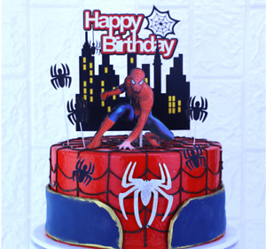 Spiderman Cake Birthday Decorations Toppers Action Figure Party Decoration