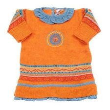 Size 3 Months - Designer Knit Winter Dress Baby Girls Clayeux Orange Aztec