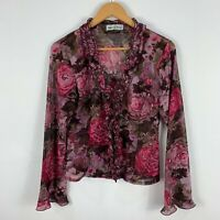 Cooper St Womens Blouse Top 12 Multicoloured Floral Long Sleeve Cascade Neck