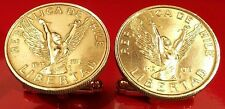 Vintage Naked Angel Woman Breaking Chains Chile Gold Tone Brass Coin Cufflinks!