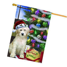 Christmas Happy Holidays Goldendoodle Dog Tree and Presents House Flag Flg53654