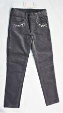 Gymboree Pants Girls Stretch Waist Skinny Dark Gray Cord Embroidered Size 5 NEW
