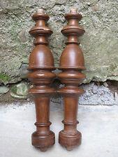 Ancienne paire colonnes bois tourné Henri II restauration meuble french antique